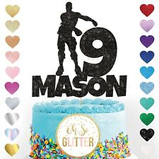 Floss like a boss personalised cake topper fortnite fortnight floss name glitter