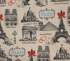 Love Paris France 100% Cotton Canvas Fabric Louvre Eiffel tower Notre Dame