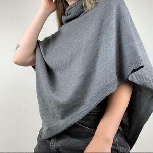 Eileen Fisher gray wool minimalist poncho