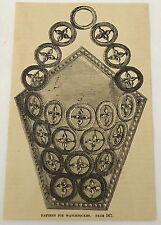 1859 magazine engraving ~ Pattern For Watchpocket