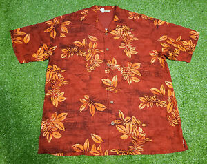 Tommy Bahama Men's Copyright Print Red Hawaiian 100% Silk Camp Shirt Size L