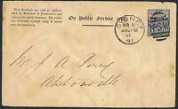 Postal Stationery: c1892 2d blue 'On Public Service only'  envelope used TS166