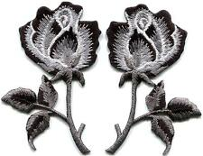 Black roses pair flowers gothic rock & roll appliques iron-on patches new S-1035