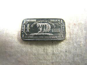 1 one gram .999 Palladium - Rare Bear Bullioin bar - 1gm Pd