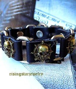 Men Cool Metal Skull Mortocycle Rider Surfer Hip Hop Leather Bracelet Wristband