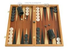 Mahogany Wood Backgammon Set - Colored Inlays, Large Brown Wooden Board