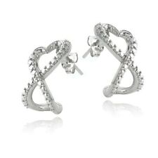 925 Silver Diamond Accent Infinity Heart Half Hoop Earrings