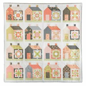 Friendly Neighbor Quilt Kit  by Coriander Quilts  Apricot and Ash Fabric