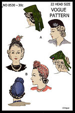 Hats Fabric Sewing Pattern VOGUE #8530 Unusual Millinery Cap TURBAN 22""