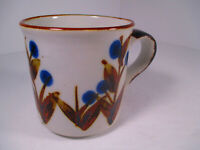 Vintage Nevco Japan Mug Brown and White with Blue Flowers Retro