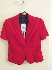 NEW M&S Cropped Jacket Bright Red With Cute Buttons Size 8 (XS) **BNWT** RRP £39