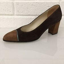 Ladies Shoes Size 3.5 E Tan Brown Teal BALLY 100% Suede GORGEOUS