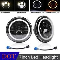 For Jeep TJ JK CJ Hummer 7 Inch Round LED Headlight Hi/Low Beam Halo Angle Eye
