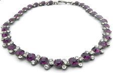 Collar Vintage Púrpura Collar De Vidrio Cristal Facetado corto potable