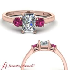 1 Ctw Radiant Cut Diamond Past Present Future Engagement Ring With Pink Sapphire