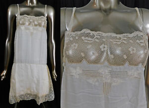 Vintage Pleated Silk Bobbin Lace Wedding Trousseau Bridal Lingerie Chemise Teddy