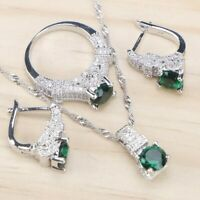 Womens 925 Sterling Silver Zirconia Jewelry Earrings Ring Necklace Pendant Set
