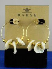 Barse Genuine Bronze Mother of Pearl Chips Beaded Hoop Earrings KEYWE09MUB $20