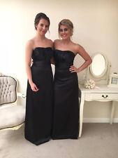 Satin Sleeveless Bridesmaid Dress Evening Wedding Party A Line Floor Length Gown