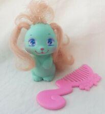 Vintage 1989 Mattel My Little Pretty Puppy Baby Waggle Aqua + Comb