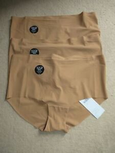 Marks & Spencer Body No VPL High Rise Knickers Shorts Size 12 Cinnamon Brown 3pk