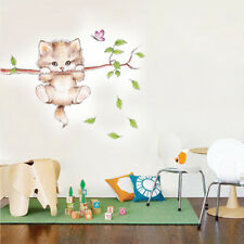Cat Butterfly Tree Branch Wall Stickers Kids Room Home Decoration Wall Decals
