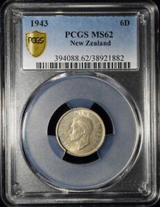 1943 New Zealand 6 Pence - George VI (1st Type) - PCGS MS62