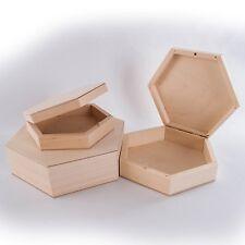 1/2/3x or Set Hexagonal Wooden Plain Trinket Box in 3 sizes/ Memory Keepsake