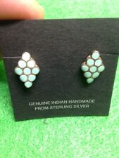 Light Turquoise Inlay Sterling Silver Navajo Indian Handmade Earrings Petite