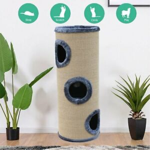 70/100CM Cat Scratching Cylinder Post Pole Tower Tree Gym House Furniture Bed