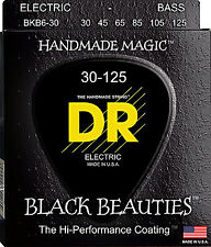 DR BKB6-30 6 string Black Beauties Black Coated Bass Guitar Strings 30-125 MED