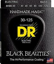 DR BKB6-30 6 string Black Beauties Black Coated Bass Guitar Strings 30-125 MED