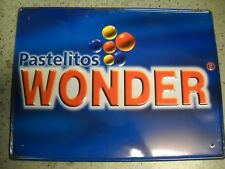 "VINTAGE OLD WONDER BREAD EMBOSSED METAL SIGN, ""Pastelitos Wonder"""