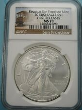 2013 (S) AMERICAN SILVER EAGLE NGC MS70 FIRST RELEASES SF TRAM LABEL