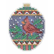 Crimson Cardinal Cross Stitch Ornament Kit Mill Hill 2018 Beaded Holiday