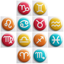 "ZODIAC ASTROLOGICAL SIGNS - pinback buttons symbols - 1"" pins badges icons"