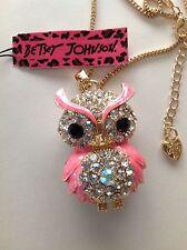 "HOT PINK OWL Crystal/Enamel 28"" Pendant Necklace Betsey Johnson"