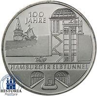Deutschland 10 Euro 2011 bfr. 100 Jahre Hamburger Elbtunnel in Münzkapsel