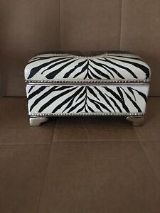 Carolyn Kinder Zebra Pattern Trinket Jewelry Box Porcelain Ceramic Home Accent