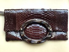 Ema G G Brown Python Snake Skin Leather and Animal Horn bag clutch