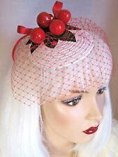 Vintage 50's Style Cherry White Straw Cherries Fascinator Veil Hat Wedding