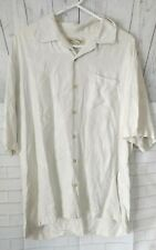 Men's Tommy Bahama 100% Silk Hawaiian casual shirt beige Short Sleeve  Large