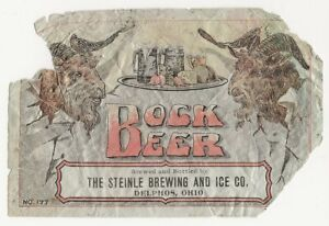 Pre Prohibition Steinle Brewing & Ice Bock Beer label Delphos OH