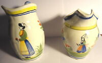HB Henriot Quimper France Hand Painted 2 Small Creamer Pitchers