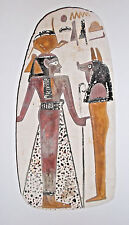 FAUX EGYPTIAN RELIC Images Hand Painted on Ceramic Tile 1973 Egypt Souvenir