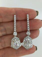 Gorgeous Fancy Cut & Round Clear CZ 925 Silver Long Statement Earrings