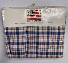 Vintage Ralph Lauren Twin size Flat Sheet 100% Cotton Plaid Blue New