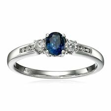 10k White Gold Sapphire and Diamond Ring Size 7 1/10cttw I-j Color I2-i3