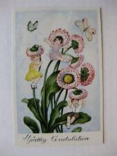 Vintage Flower Face People w/ Butterflies Swedish Postcard