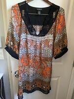Lane Bryant Plus Size Top Shirt Blouse Black Orange Paisley 18 20 22 24 3X Fall